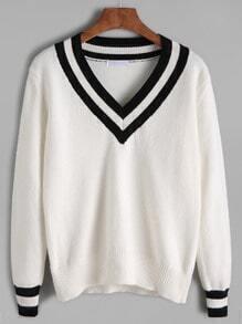Jersey ribete de rayas - blanco