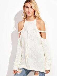 White Halter Cold Shoulder Twist Front Sweater