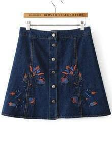 Blue Floral Embroidery Button Up Denim Skirt