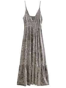 Silver V Neck Velvet Midi Cami Dress