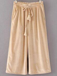 Pantalones anchos de terciopelo cintura con cordón - kaki claro