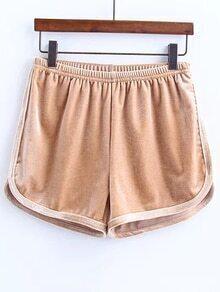 Khaki Elastic Waist Velvet Shorts