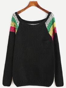 Jersey de manga raglán color combinado