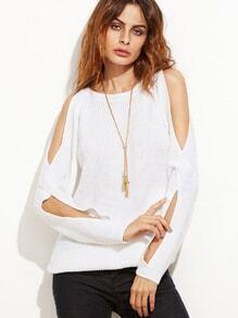 Jersey con mangas con abertura - blanco