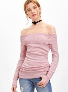 Jersey con hombros al aire y dise?o vuelto - rosa