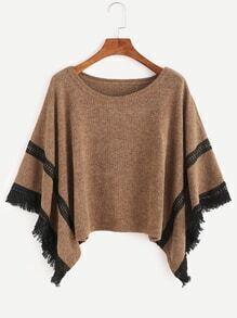 Khaki Contrast Crochet Fringe Hem Poncho Sweater