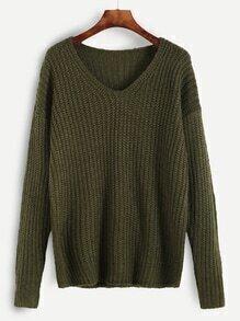 Pull tricoté à nervures - vert olive
