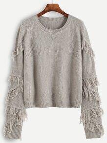 Jersey texturado con flecos - gris