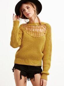 Jersey con detalle hueco - amarillo