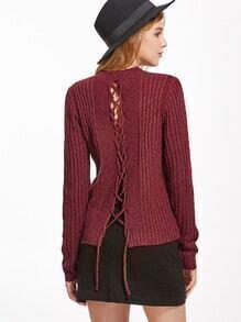 Jersey acanalado con cordón en espalda - borgo?a