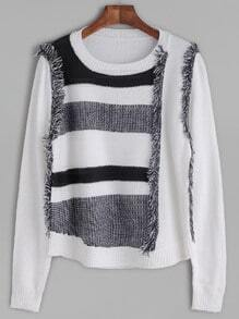White Color Block Fringe Detail Sweater