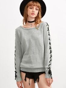 Grey Lace Up Raglan Sleeve Sweater