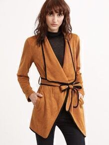 Camel Contrast Binding Drape Collar Suede Wrap Coat