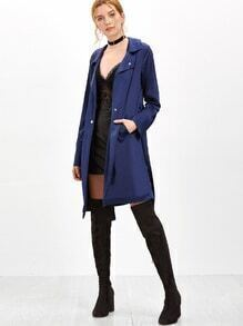 Navy Double Breasted Drawstring Waist Coat