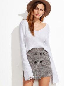 Jersey con cuello en V de manga larga - blanco