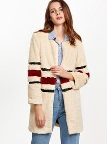 Apricot Striped Open Front Faux Fur Coat