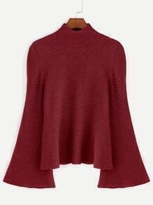 Jersey Pullover Bell?rmel Verspoten Hals-burgund rot