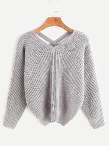 Pullover Doppelt V-Ausschnitt Vorne Kurz Hinten Lang-grau
