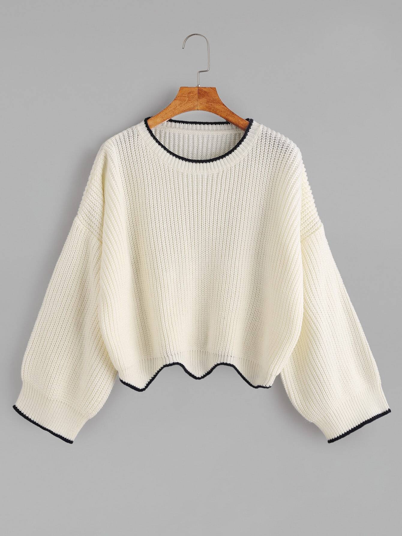 White Contrast Trim Scallop Edge Crop Sweater