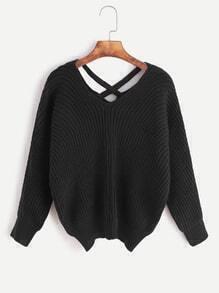 Jersey con cuello en V espalda cruzada - negro