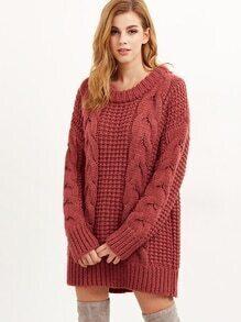 Jersey de punto renzado grueso - rojo ladrillo