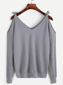 Jersey con hombro abierto - gris