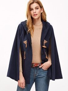 Navy Pocket Front Hooded Duffle Cape Coat