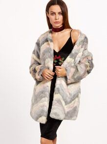Multicolor Chevron Faux Fur Coat