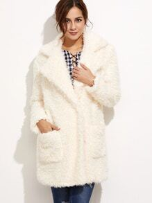 White Pocket Front Hidden Button Fluffy Coat