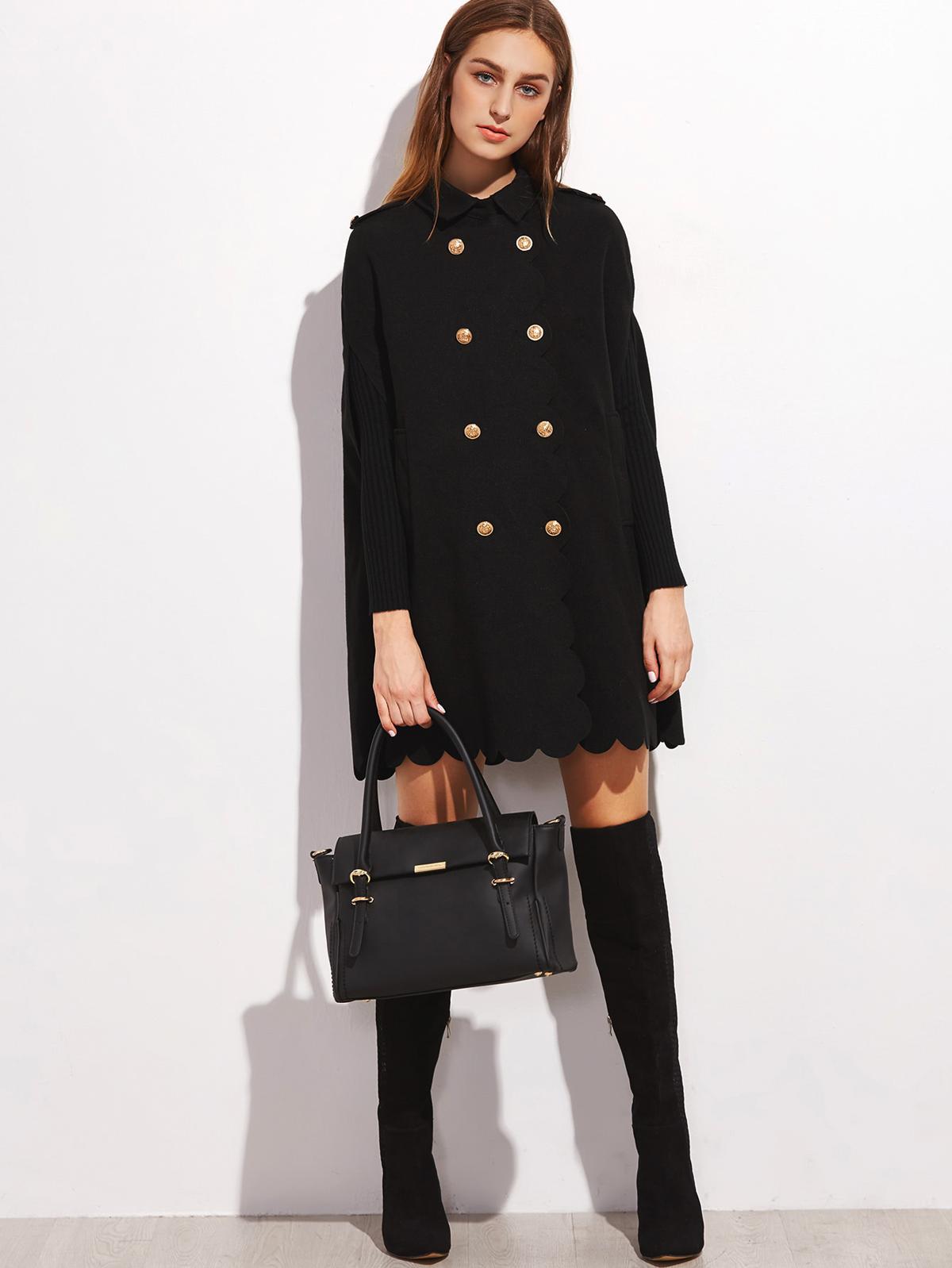 黑色 雙排扣 扇形 邊 披風 外套