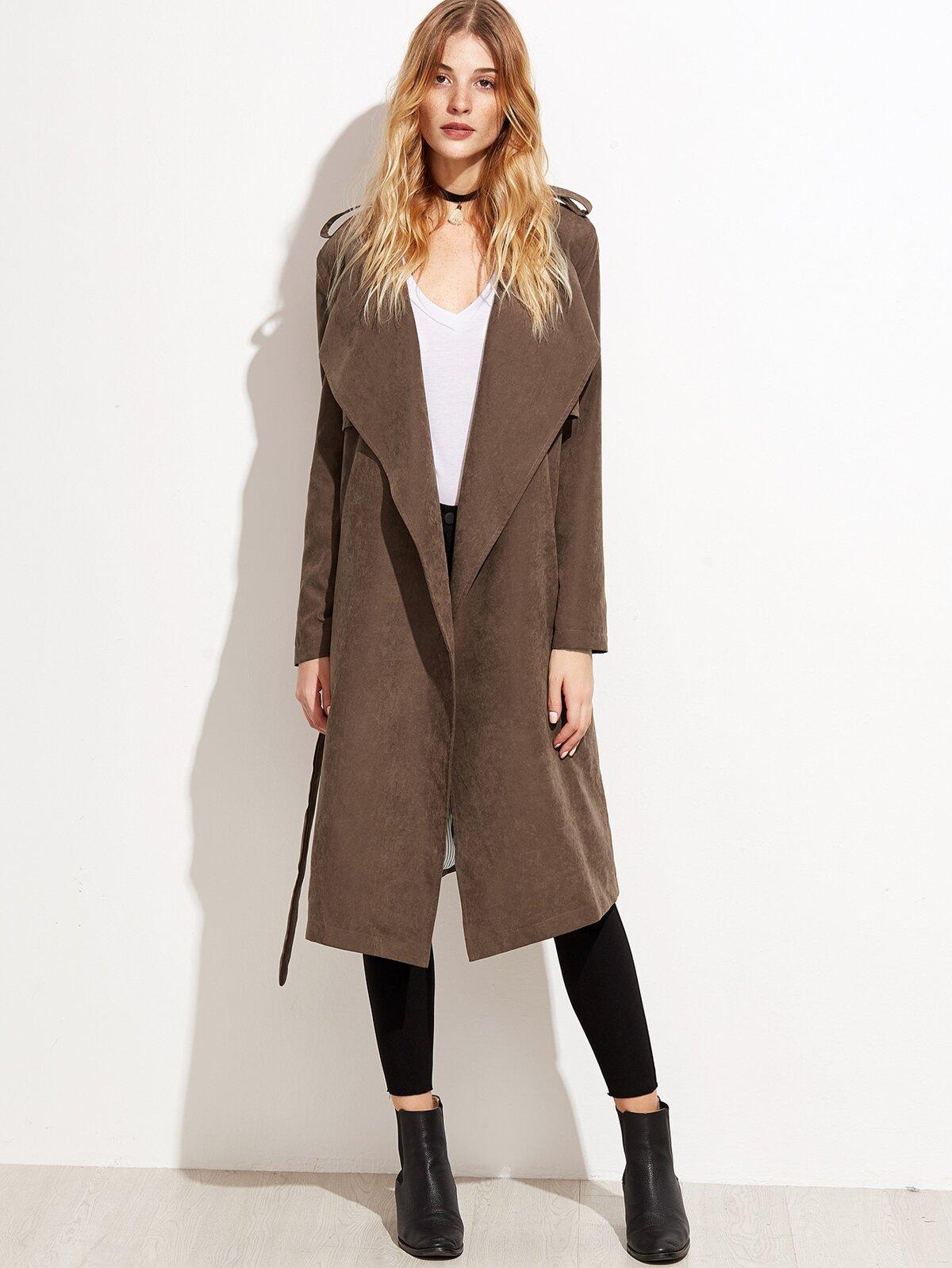 棕色  麂皮效果 分層 披覆 外套