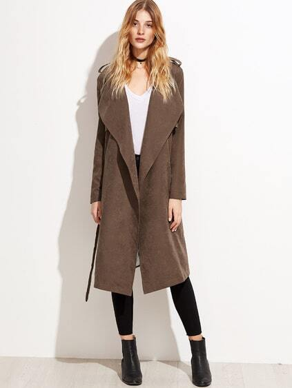 Brown Suede Layered Wrap Coat