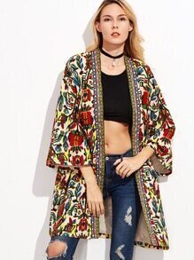 Colorful Open Front Outerwear With Tribal Print Tape Detail