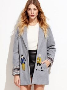 Heather Grey Drop Shoulder Embroidered Coat