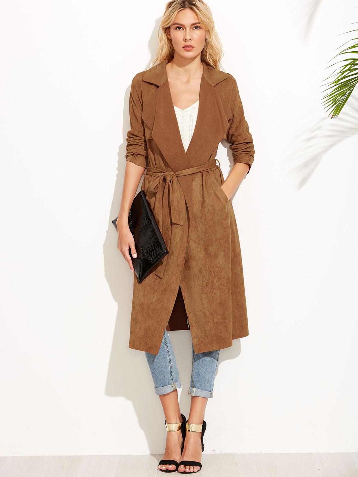 棕色  麂皮效果 綁帶 毛毛  外套