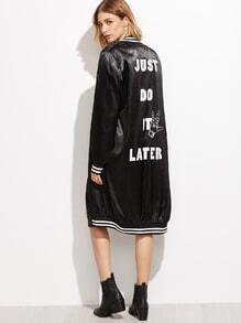 Black Slogan Print Striped Trim Satin Bomber Coat