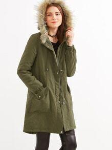 Olive Green Faux Fur Hood Parka Coat