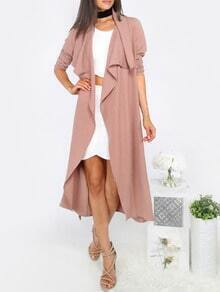 Coffee Lapel Tie Waist Long Sleeve Outerwear