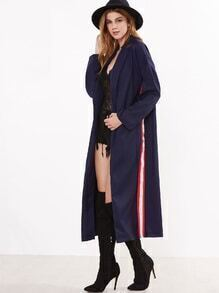 Navy Slit Back Shawl Collar Coat With Side Stripes