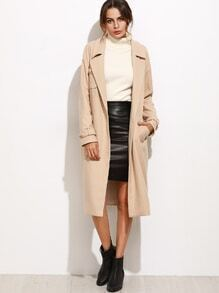 Light Khaki Lapel Pocket Self Tie Long Coat