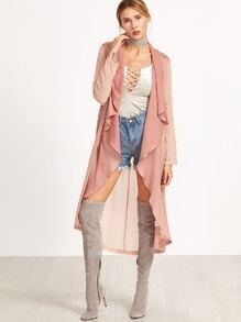 Pink Waterfall Collar Roll Sleeve Belted Duster Coat