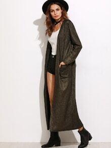 Abrigo con brillos y bolsillo - kaki