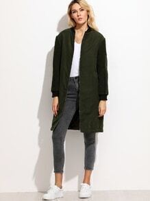 Olive Green Fleece Sleeve Suede Bomber Coat