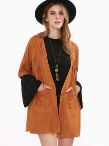 Manteau en suédine demi-manche avec franges - marron