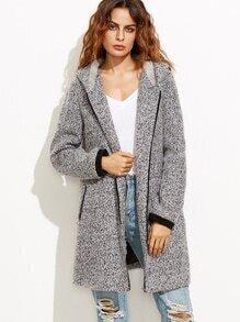 Heather Grey Hooded Zip Front Fluffy Fleece Coat