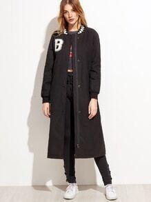Abrigo largo con parche de letras - negro