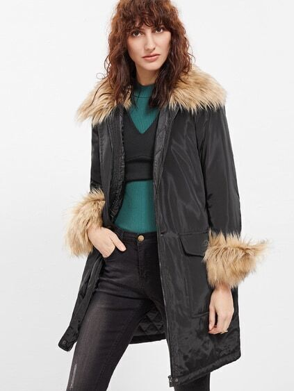 Black Faux Fur Trim Parka Coat