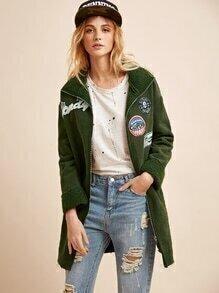 Abrigo con cremallera y parche - verde