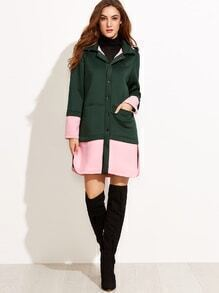 Color Block Hooded Covered Buttons Padded Coat