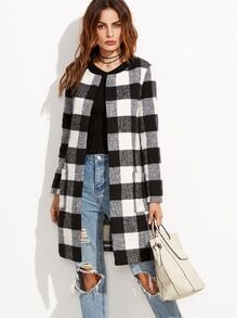 Black And White Checkered Collarless Coat